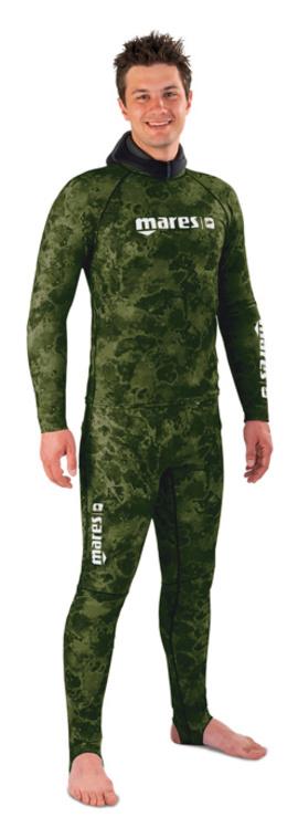 Камуфлажен костюм за подводен риболов от ликра Rash Guard Camo Green - Mares